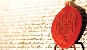 Pope Clement's seal on the Parchment of Chinon