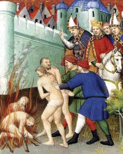 The King of France Philip August and Pope Innocent III calmly observed the burning of