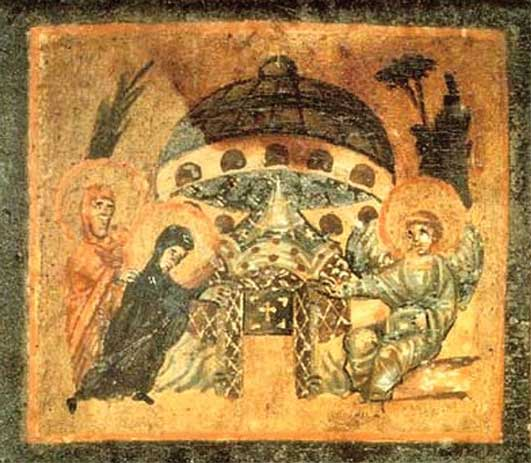A fresco of XI century «Saucer at the Tomb of Jesus» with a Vitmana