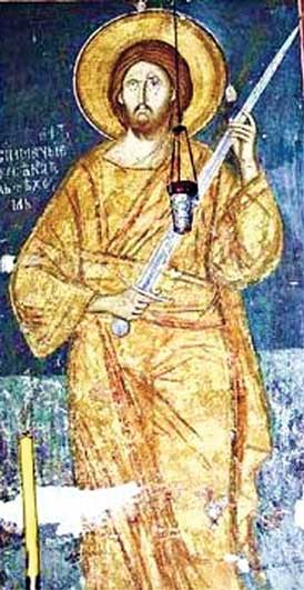 «I came not to send peace, but a sword!» A fresco of XIV century. Radomir with a knight's sword