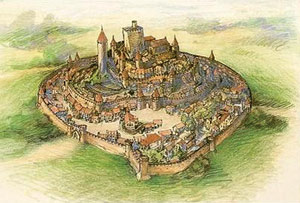 The castle of Usson before it was destroyed by the church army in 1258. Ancient engraving